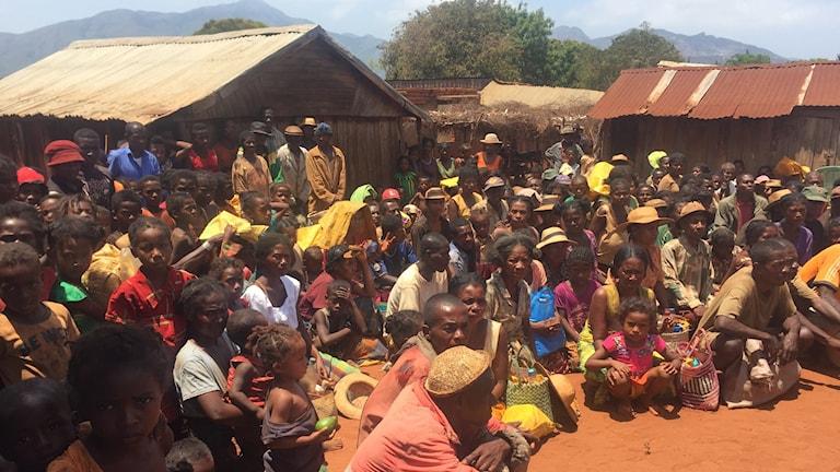 Hundratals bybor har samlats i Marvatobé i södra Madagaskar inför FN:s matutdelning. Regionen har drabbats av svår torka.