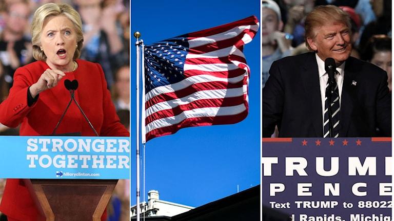 Hillary Clinton, amerikanska flaggan, Donald Trump.