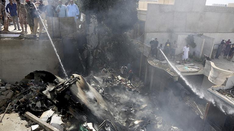 Platsen för flygplanskraschen i Pakistan.
