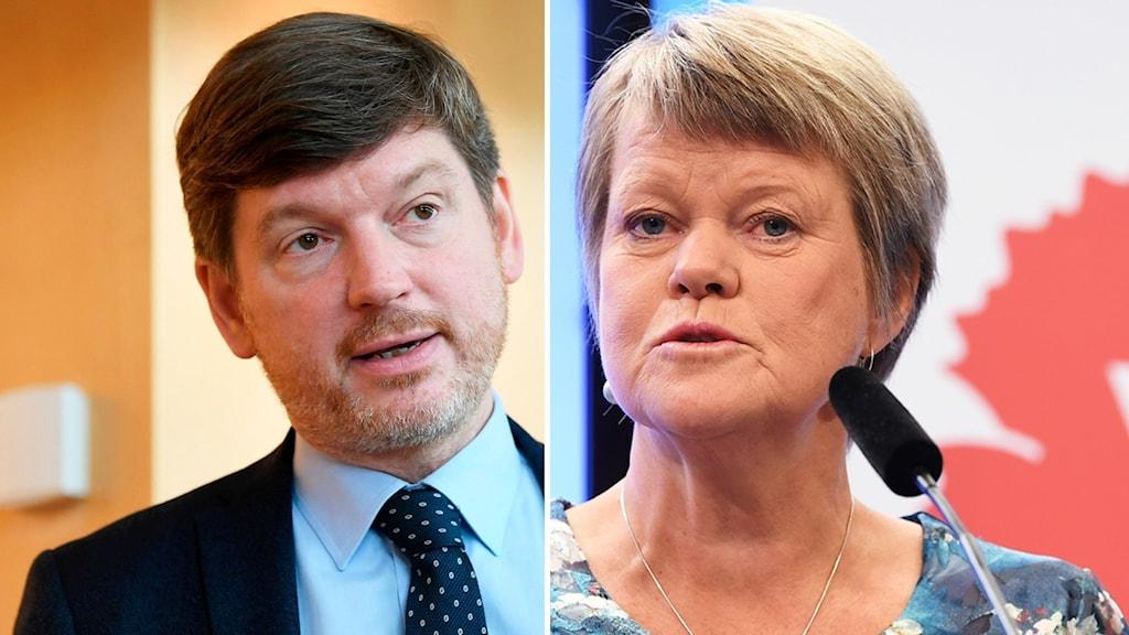 Martin Ådahl (C) och Ulla Andersson (V), partiernas respektive ekonomisk-politiska talespersoner.