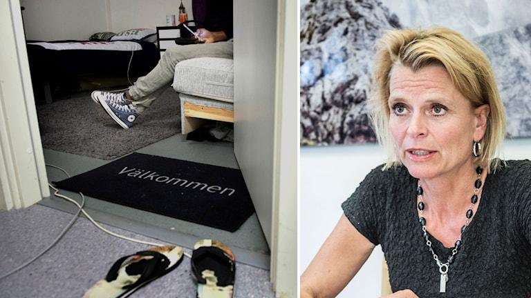 Montage Åsa Regner (S) och bild på någon som sitter ensam i en säng och kollar på mobilen.