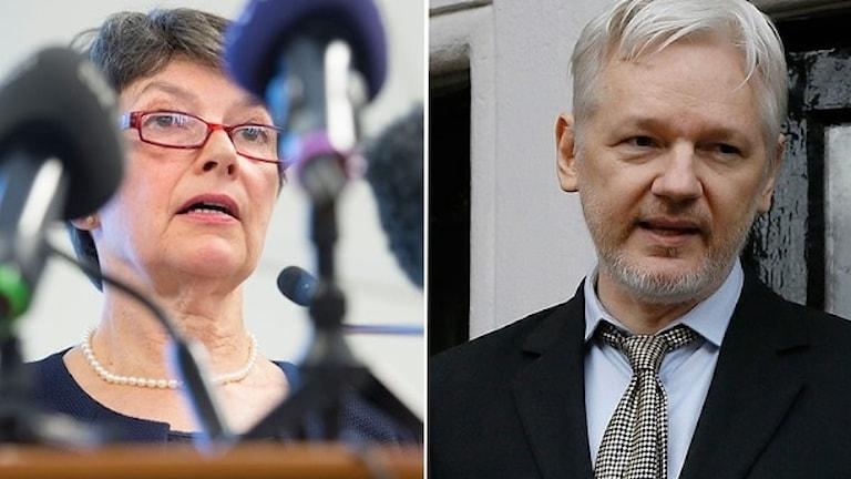 Marianne Ny och Julian Assange.