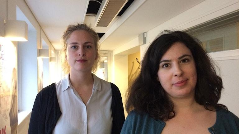 Clara Berglund, Sveriges kvinnolobby, och Naomi Abramowicz, ledarskribent på Expressen, debatterade porr.
