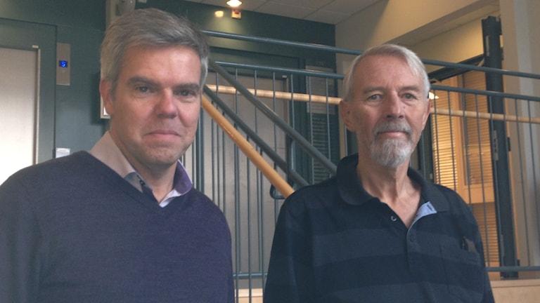 Professor Magnus Essand och brandinspektör Jan-Erik Jansson -  den första patient som  fått prova den nya virusbaserade cancermedicinen.