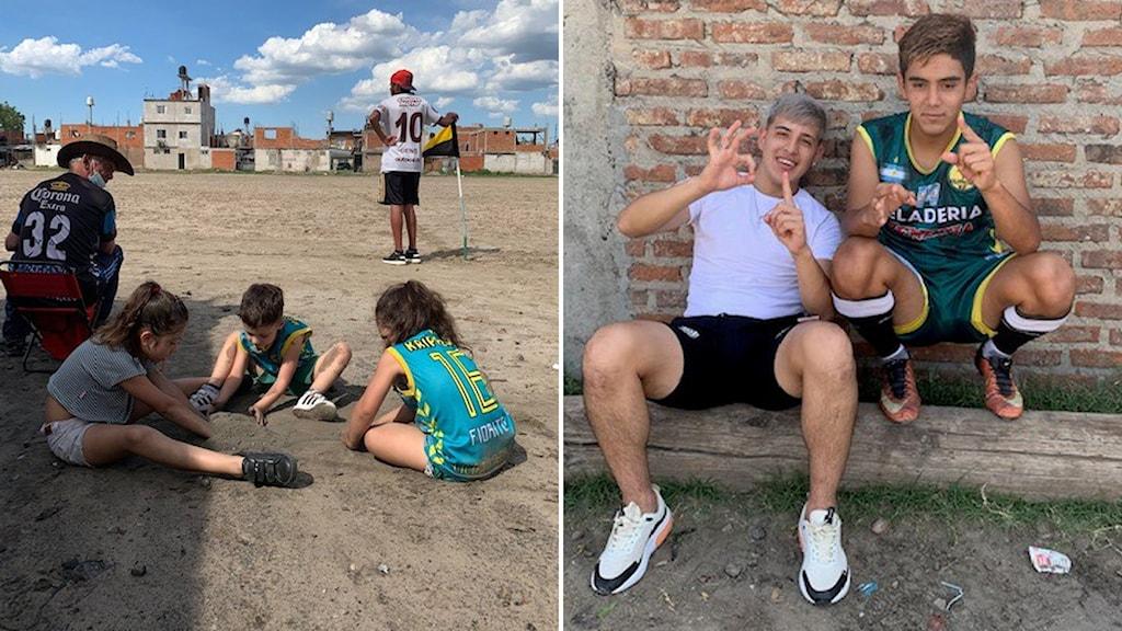Delad bild. På grusplanen där Maradona spelade som tioåring samlas hela familjer varje söndag för att se lokala lag spela.  Och den andra bilden. 18-årige Angel (t h) i Villa Fiorito tror inte någon det kommer att komma någon ny Maradona