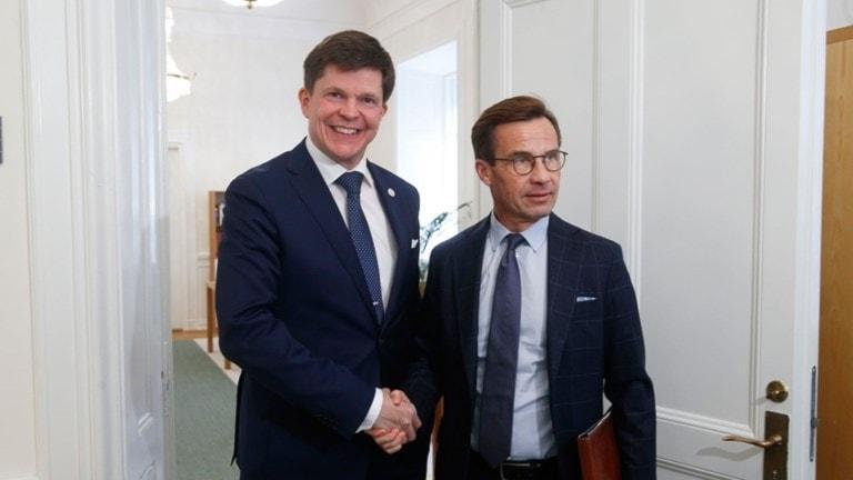 Talmannen Andreas Norlén och Moderaternas Ulf Kristersson.