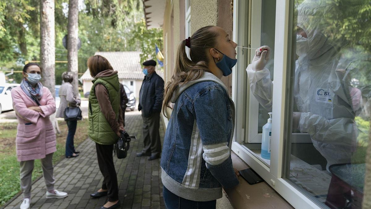 Vårdpersonal tar ett covid-test på en kvinna genom ett fönster på ett sjukhus i Toporivtsi, Ukraina.