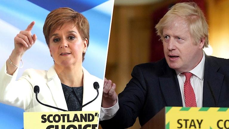 Skottlands försteminister Nicola Sturgeon och Storbritanniens premiärminister Boris Johnson.