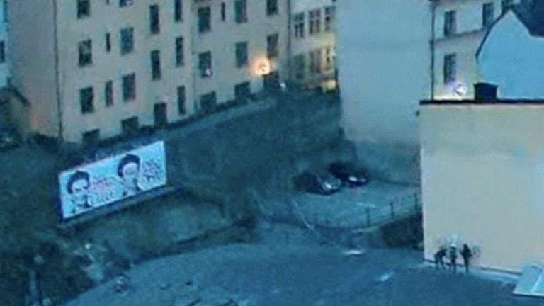 Bilden klottrare är en ruta från de nästan 9000 timmarna verklighet som spelats in under ett år vid Slussen