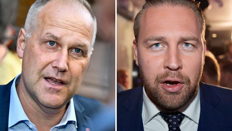 Vänsterpartiets partiledare Jonas Sjöstedt och Sverigedemokratenas partisekreterare Mattias Karlsson.AC