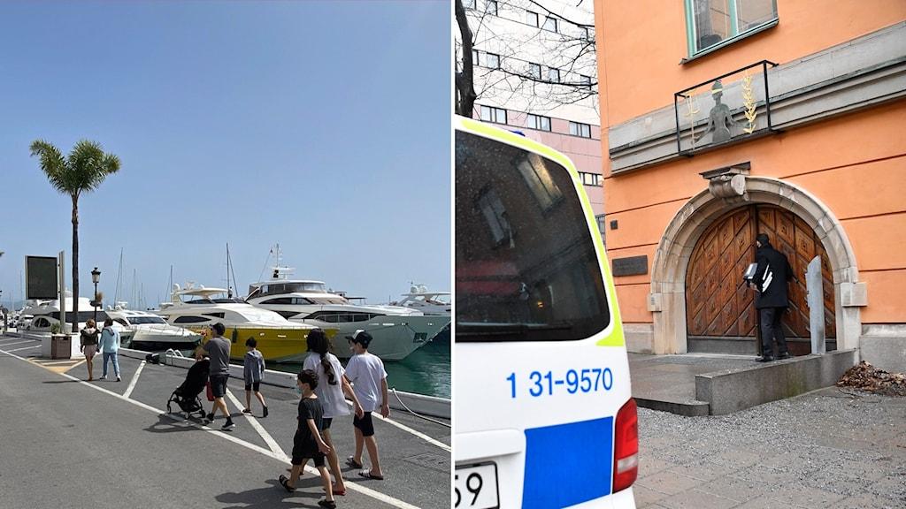 Strandpromenad i Marbella och en polisbil utanför tingsrätten.