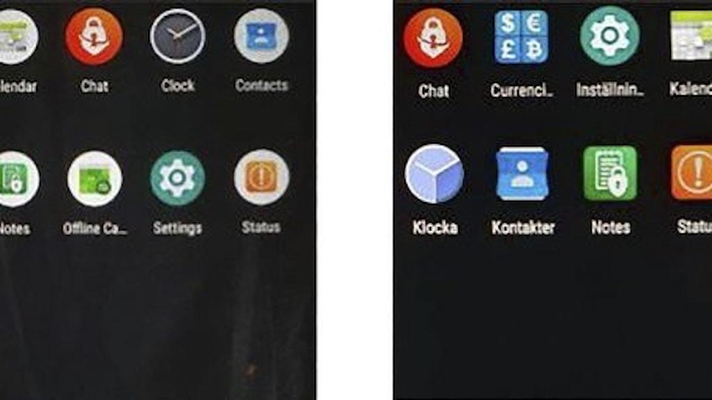Två skärmbilder med ikoner.