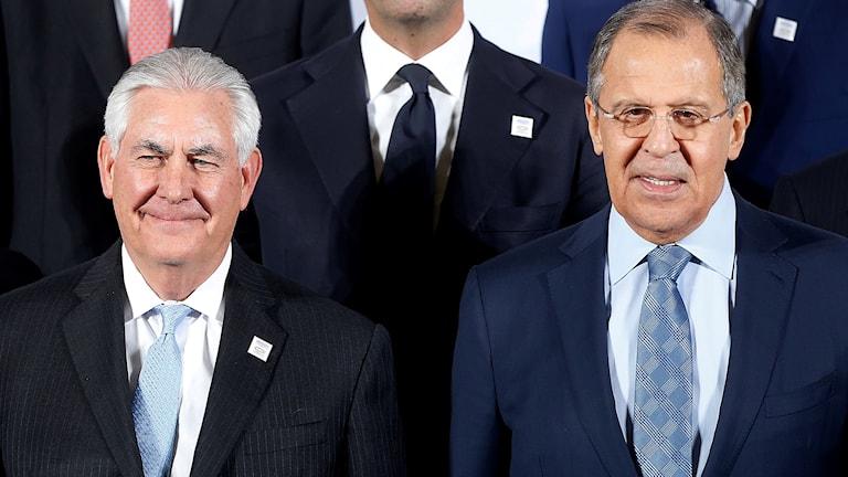 Rex Tillerson och Sergej Lavrov på G20-mötet i Tyskland i februari.