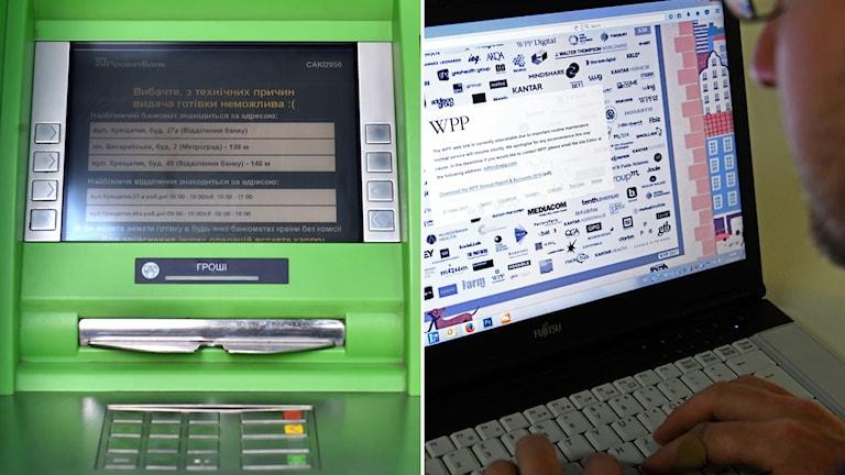 Bankomat som blivit hackad om person vid dator.