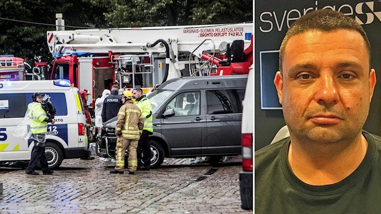 Brandpersonal och räddningsfordon efter knivattacken vid Salutorget, Åbo, till höger Hassan Zubier, som själv skadades.