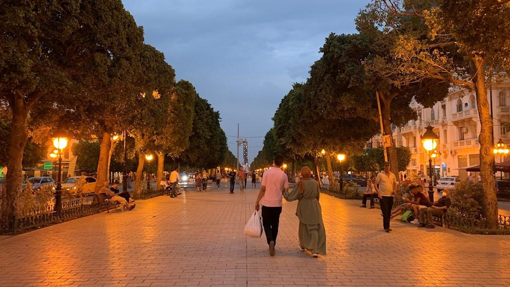 Tunis huvudgata Avenue Bourguiba strax före det nattliga utegångsförbudet .