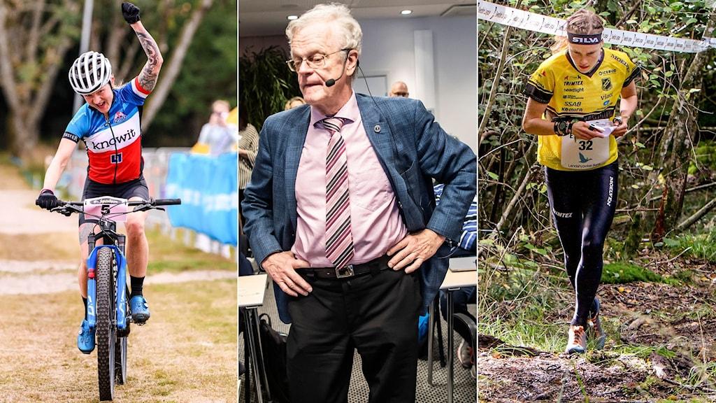 Riksidrottsförbundets ordförande Björn Eriksson i mitten. Till vänster mountainbike, till höger orientering.