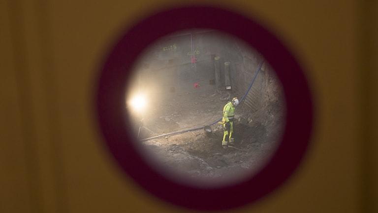 Byggarbetare på håll