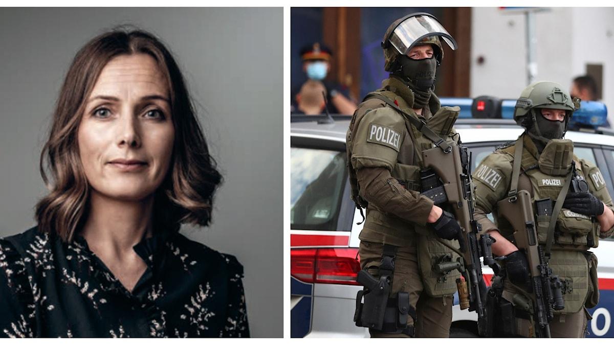 Linda Thörnell till vänster, Österrikiska poliser till höger