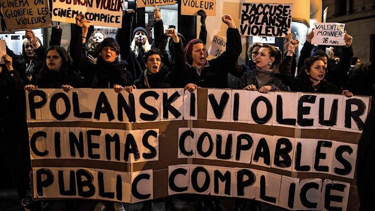 Protester mot Polanski i Frankrike.