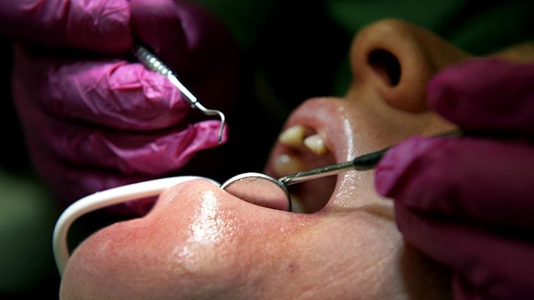 Patient hos en tandläkare.