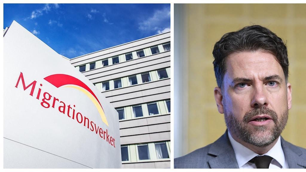 Collage på Migationsverkets logga och Migrationsverkets gd Mikael Ribbenvik.