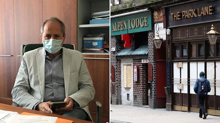 Andrea Crisanti, professor i mikrobiologi på universitetet i Padova, och bild på stängda pubar i Storbritannien.