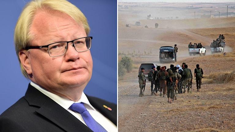 Sveriges försvarsminister Peter Hultqvist och bild på turkisk-stödda soldater i norra Syrien.