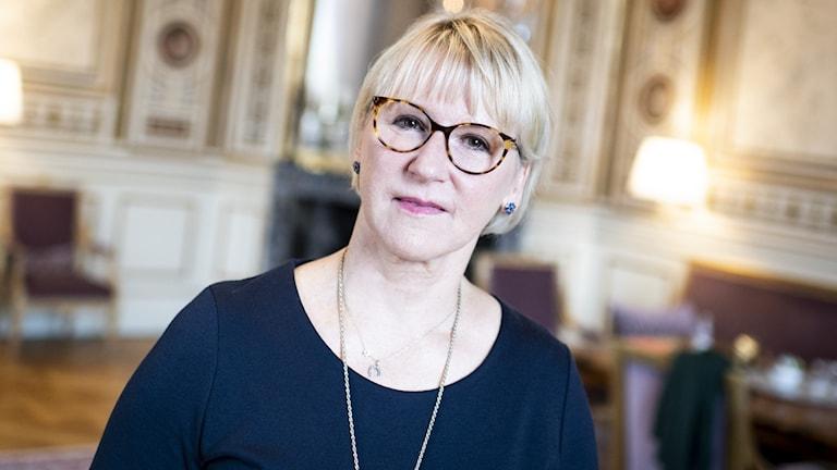 Avgående utrikesminister Margot Wallström (S) på sitt kontor vid utrikesdepartementet.