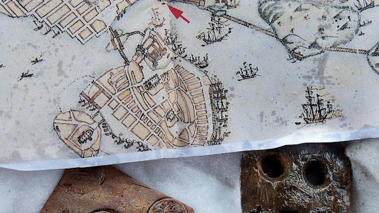 en karta från 1700-talet som visar Gamla stan i Stockholm.