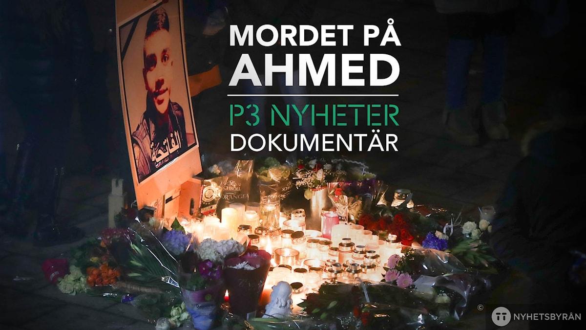 En bild på Ahmed med tända ljus framför.