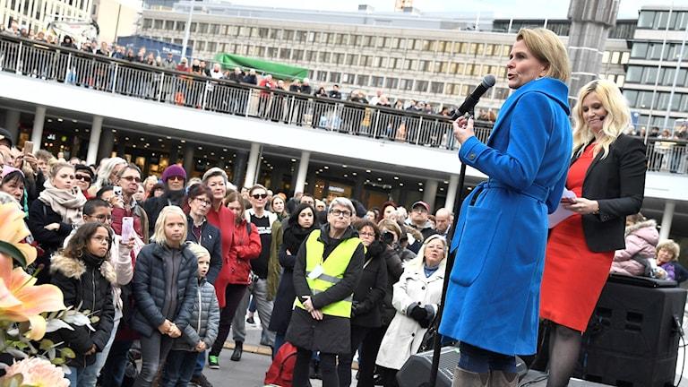 Åsa Regnér på Me Too-manifestationen