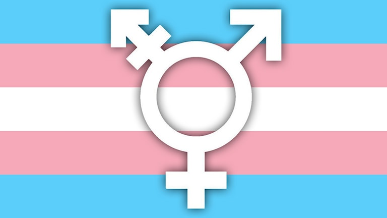 Bild på en transflagga med en vit transsymbol på.