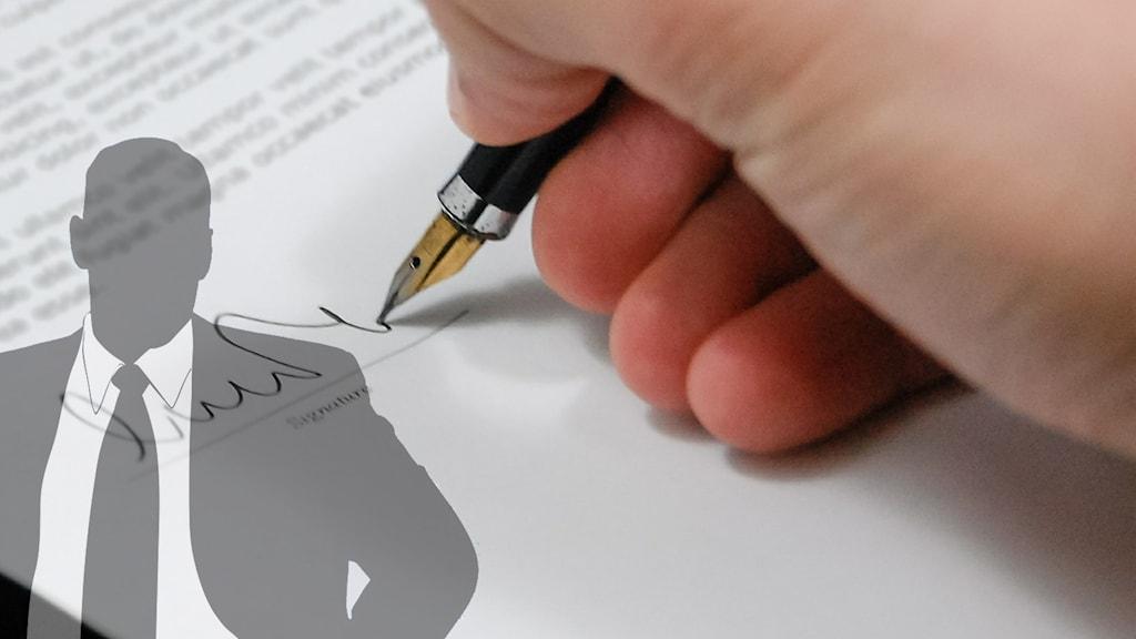 Bild på en hand som skriver på ett kontrakt, och en tecknad man i kostym.