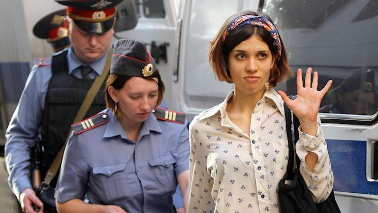 Nadezhda Tolokonnikova i är en av de tre i punkbandet Pussy Riot som åtalas för huliganism. Foto: Misha Japaridze / Scanpix