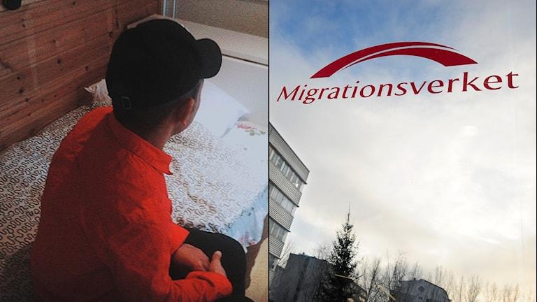 Bild på Naim, tagen bakifrån. Bild på Migrationsverket-skylt.