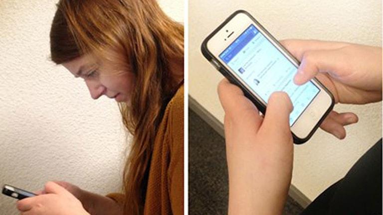 Mobil, nacke, håller i en mobil Foto: Sveriges Radio
