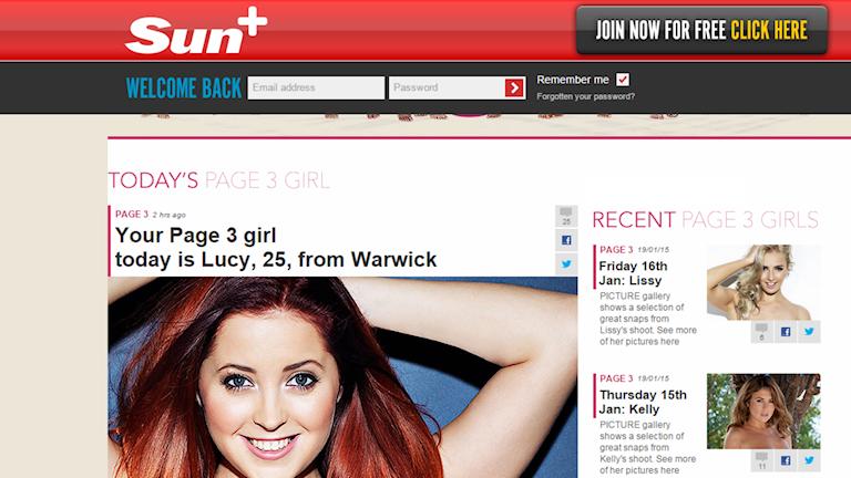 Nu kan utviksbilderna försvinna The Suns tredje sida Bild: Skärmdump från http://www.thesun.co.uk