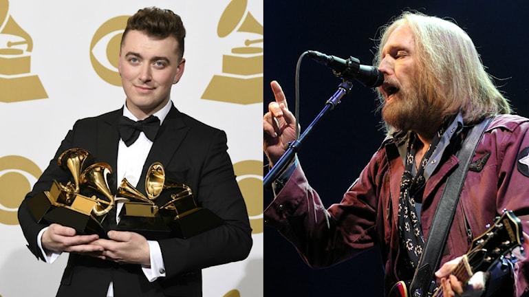 """till vänster sam smith fick pris för årets låt """"Stay With me"""".Till Höger Tom Petty sjunger. Bilden är ett kollage."""