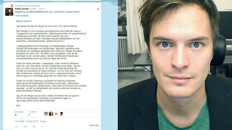 Viktor Arnell tycker att universitetets samarbete med Saab strider mot mänskliga rättigheter. Foto: Privat