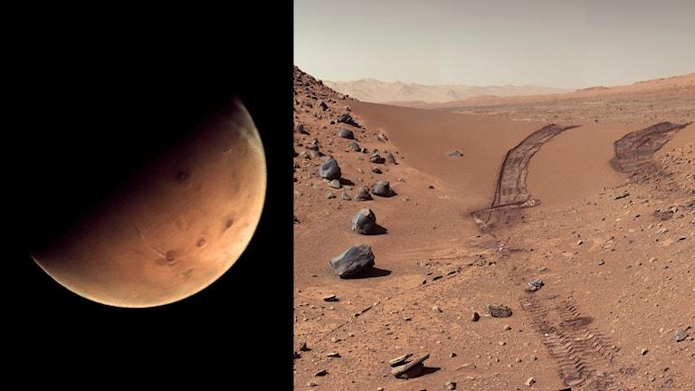 En bild av planeten Mars och dess yta