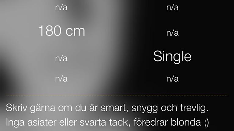 Skärmdump från appen Grindr