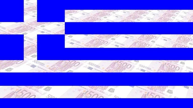 Greklands flagga och euros