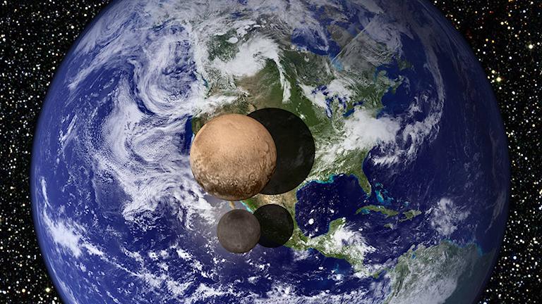 Pluto i jämförelse med Jorden