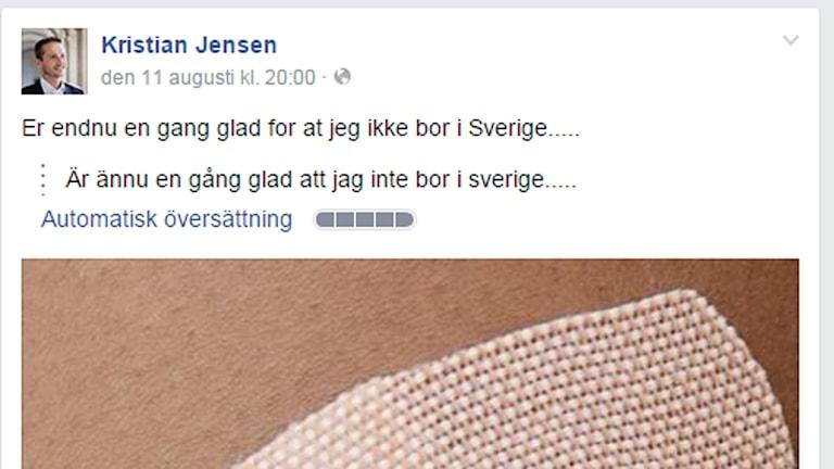 Danmarks utrikesminister kommenterar den svenska plåsterdebatten. Foto: Skärmdump