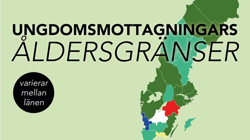 Åldersgränser ungdomsmottagningen. Grafik: Emmy Jokkinen/P3 Nyheter