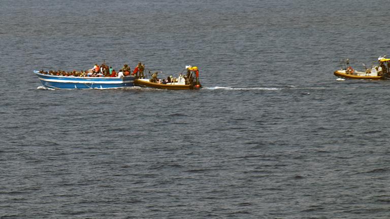 Båt, medelhavet, flykt. Foto: KBV 001 Poseidon/Kustbevakningen
