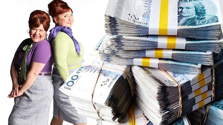 Bild på reklam från bolaget Com Hem tillsammans med pengar.