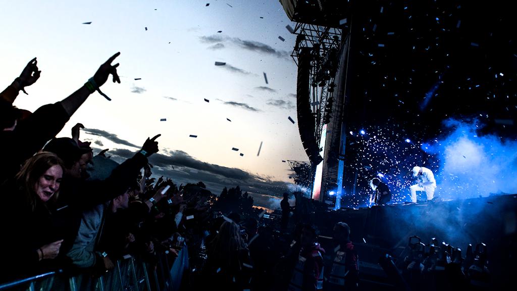 Bilden föreställer ett publikhav från Bråvallafestivalen 2015.