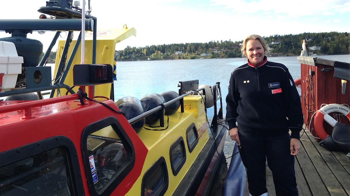 Pernilla Rosén innan en evakueringsövning med Sjöräddningssälskapet. Foto: Stina Sämgård